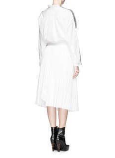 SACAI Cable knit panel poplin shirt with plissé chiffon wrap skirt