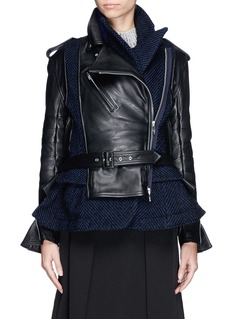 SACAI Leather herringbone wool peplum biker jacket
