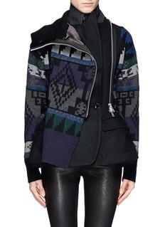 SACAIIntarsia knit wool blend peplum jacket