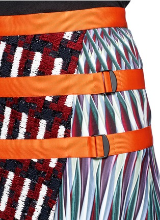 Detail View - Click To Enlarge - Peter Pilotto - Asymmetric tweed flap A-line print skirt