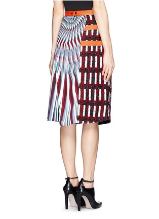 Back View - Click To Enlarge - Peter Pilotto - Asymmetric tweed flap A-line print skirt