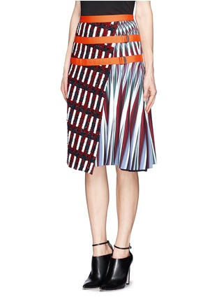 Front View - Click To Enlarge - Peter Pilotto - Asymmetric tweed flap A-line print skirt