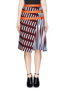 PETER PILOTTO Asymmetric tweed flap  A-line print skirt