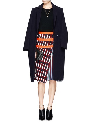 Figure View - Click To Enlarge - Peter Pilotto - Asymmetric tweed flap A-line print skirt