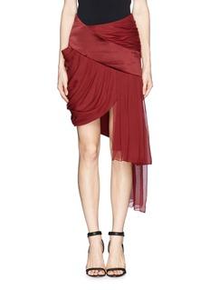 PRABAL GURUNGDrape silk chiffon satin trim skirt