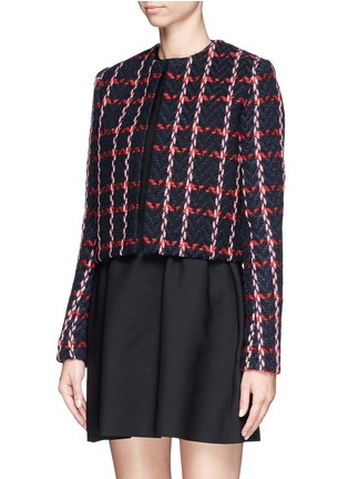 Front View - Click To Enlarge - Victoria Beckham - Check herringbone cropped jacket