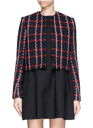 Main View - Click To Enlarge - Victoria Beckham - Check herringbone cropped jacket