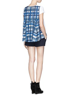 SACAI Check print flared back T-shirt