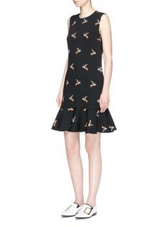 VICTORIA, VICTORIA BECKHAMHummingbird print flounce hem sleeveless dress