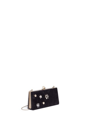Detail View - Click To Enlarge - Jimmy Choo - 'Celeste/S' interchangeable Swarovski crystal button suede clutch