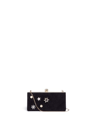 Main View - Click To Enlarge - Jimmy Choo - 'Celeste/S' interchangeable Swarovski crystal button suede clutch