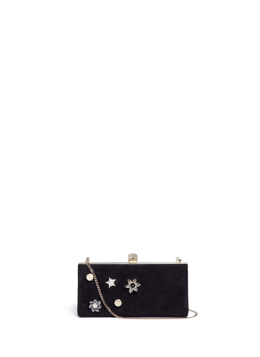 Celeste/S interchangeable Swarovski crystal button suede clutch by Jimmy Choo