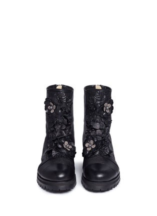 Front View - Click To Enlarge - Jimmy Choo - 'Havana' embellished floral appliqué combat boots