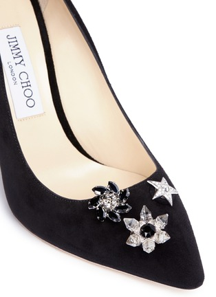 Detail View - Click To Enlarge - Jimmy Choo - 'Jasmine 100' interchangeable Swarovski crystal button suede pumps