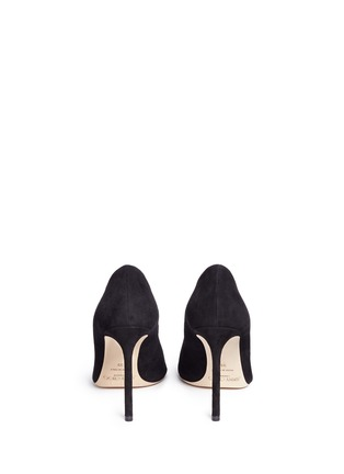 Back View - Click To Enlarge - Jimmy Choo - 'Jasmine 100' interchangeable Swarovski crystal button suede pumps