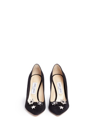 Front View - Click To Enlarge - Jimmy Choo - 'Jasmine 100' interchangeable Swarovski crystal button suede pumps