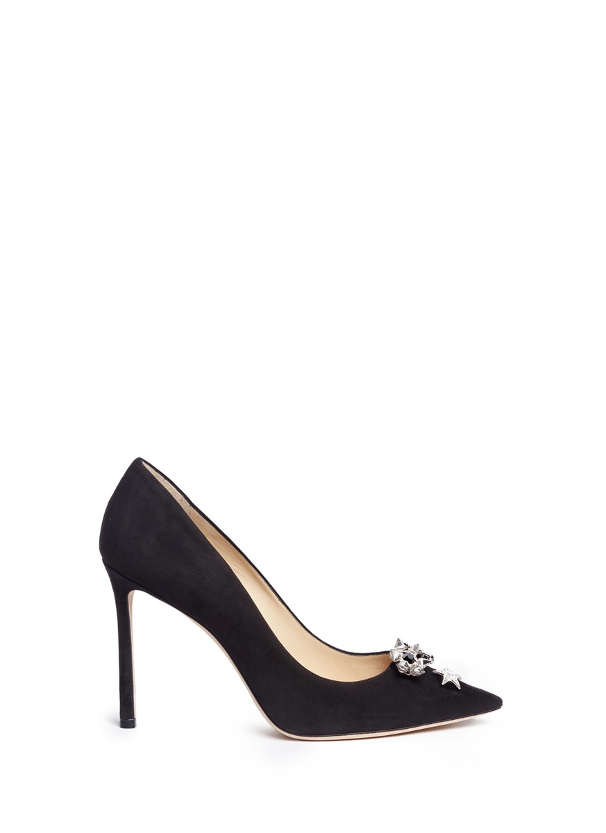 Jasmine 100 interchangeable Swarovski crystal button suede pumps by Jimmy Choo