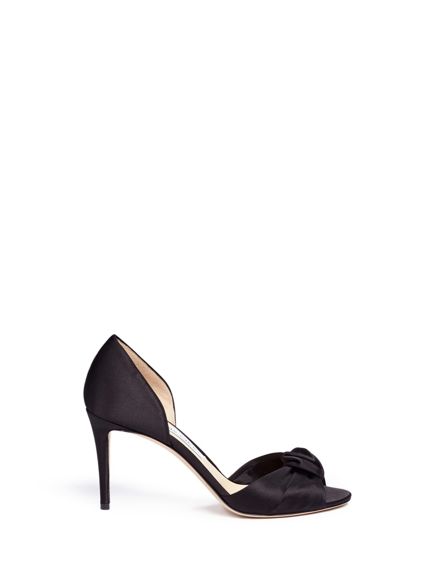 Kitty 85 knotted bow satin dOrsay sandals by Jimmy Choo