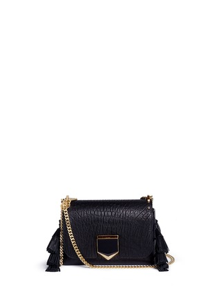 Main View - Click To Enlarge - Jimmy Choo - 'Lockett Petite' tassel crinkled leather shoulder bag