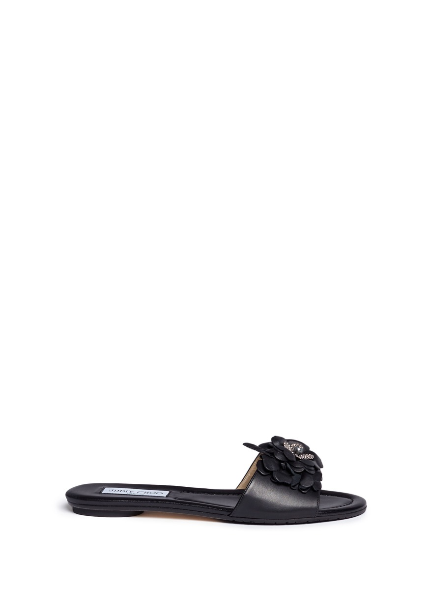 Neave strass floral appliqué leather slide sandals by Jimmy Choo