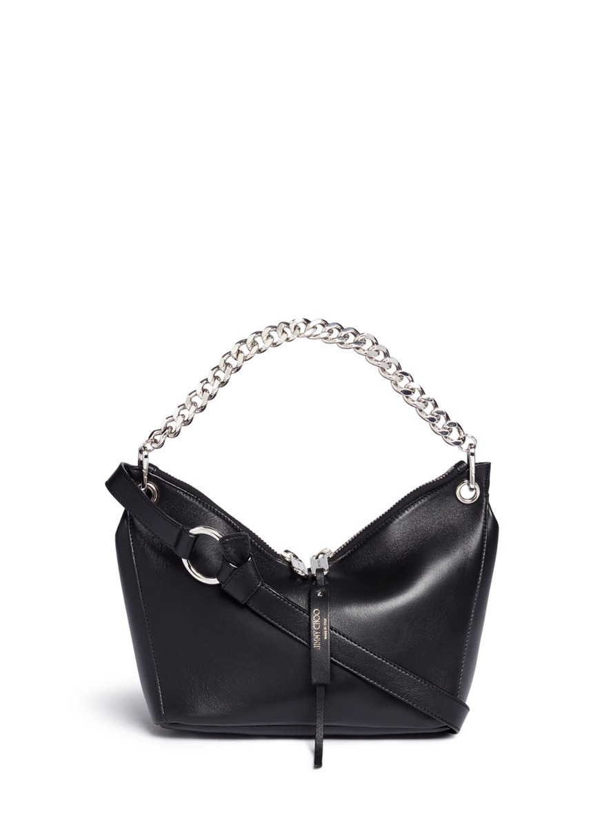 Raven small leather curb chain shoulder bag by Jimmy Choo