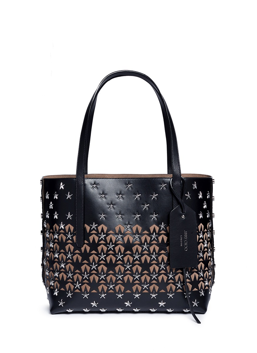 Twist East West star stud panelled leather tote by Jimmy Choo