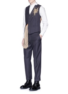 Dries Van Noten Tassel strap calligraphy embroidered pinstripe waistcoat