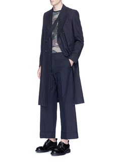 Dries Van Noten Cropped wide leg cotton-linen pants