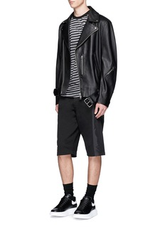 McQ Alexander McQueen Swallow patch broken stripe print cotton T-shirt