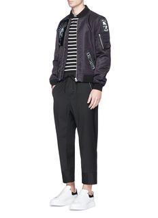 McQ Alexander McQueenSwallow skull patch stripe cotton polo shirt