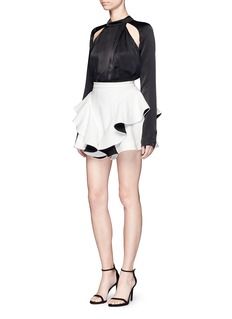 C/Meo Collective  Can't' Resist' cutout shoulder pleated satin top