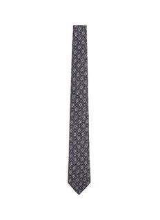 ISAIAFloral diamond print silk tie