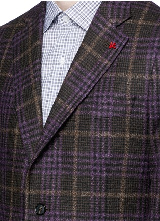 Detail View - Click To Enlarge - ISAIA - 'Cortina' Glen plaid wool-silk-cashmere blazer