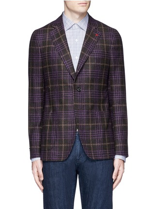 Main View - Click To Enlarge - ISAIA - 'Cortina' Glen plaid wool-silk-cashmere blazer