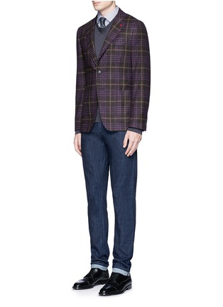 Figure View - Click To Enlarge - ISAIA - 'Cortina' Glen plaid wool-silk-cashmere blazer