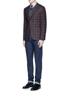 ISAIA'Cortina' Glen plaid wool-silk-cashmere blazer