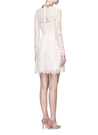 Back View - Click To Enlarge - Valentino - Detachable embellished collar floral lace dress