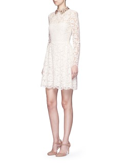 VALENTINO Detachable embellished collar floral lace dress