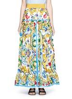 Maiolica print poplin maxi skirt