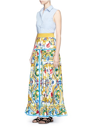 Figure View - Click To Enlarge - Dolce & Gabbana - Maiolica print poplin maxi skirt