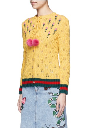Front View - Click To Enlarge - Gucci - Floral intarsia crochet knit cardigan
