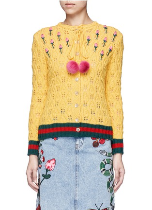 Main View - Click To Enlarge - Gucci - Floral intarsia crochet knit cardigan