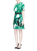 Jewel embellished banana leaf print brocade skirt