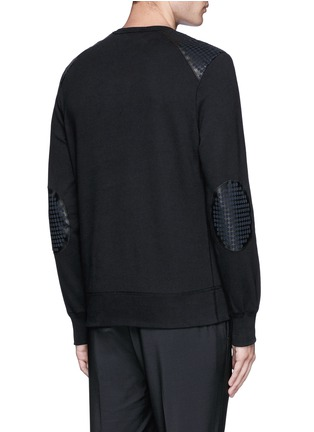 Back View - Click To Enlarge - Alexander McQueen - Perforated leather patch sweatshirt