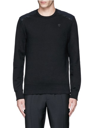 Main View - Click To Enlarge - Alexander McQueen - Perforated leather patch sweatshirt