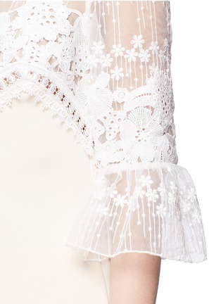 Detail View - Click To Enlarge - self-portrait - Trumpet sleeve guipure lace crepe shift dress