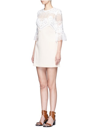 Front View - Click To Enlarge - self-portrait - Trumpet sleeve guipure lace crepe shift dress