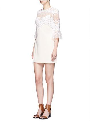 模特儿示范图 - 点击放大 - SELF-PORTRAIT - 蕾丝拼接A字连衣裙