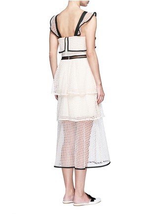 Back View - Click To Enlarge - self-portrait - Contrast trim geometric guipure lace ruffle dress