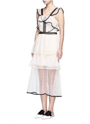 Front View - Click To Enlarge - self-portrait - Contrast trim geometric guipure lace ruffle dress
